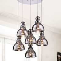 Alita Chrome Smoked Bubble Glass 6-light Cluster Pendant