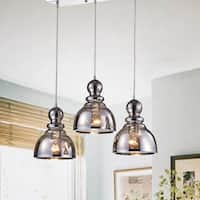 Alita Chrome 3-Light Smoked Bubble Glass Cluster Pendant