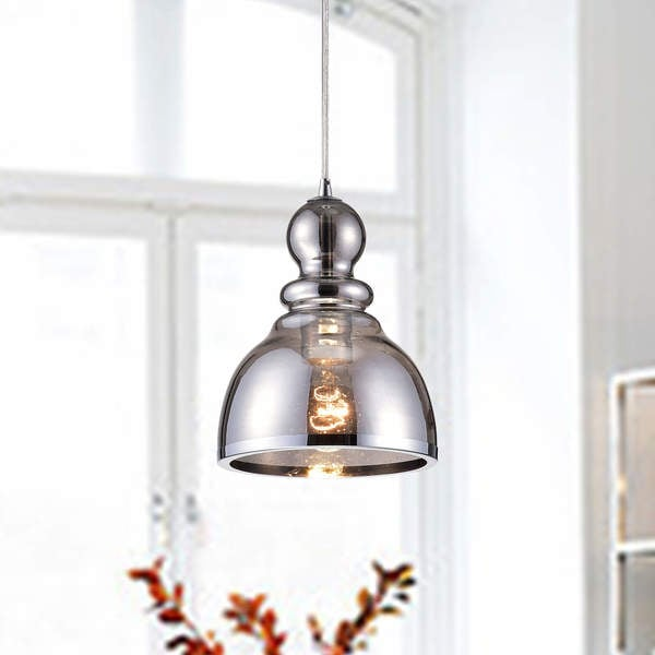 Alita Chrome Mini Pendant with Smoked Bubble Glass Chrome Iron Edge