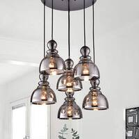 Alita Antique Black 6-Light Smoked Bubble Glass Chrome Edge Pendant Cluster