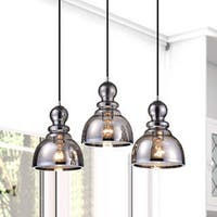 Alita Antique Black 3-light Smoked Bubble Glass Chrome Edge Pendant Cluster
