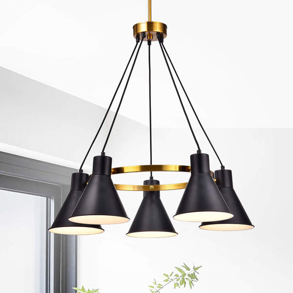 Sabina Metallic Gold 5-light Chandelier with Black Conical Iron Shade