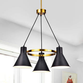 Sabina Metallic Goldtone Iron 3-light Chandelier with Black Iron Shades
