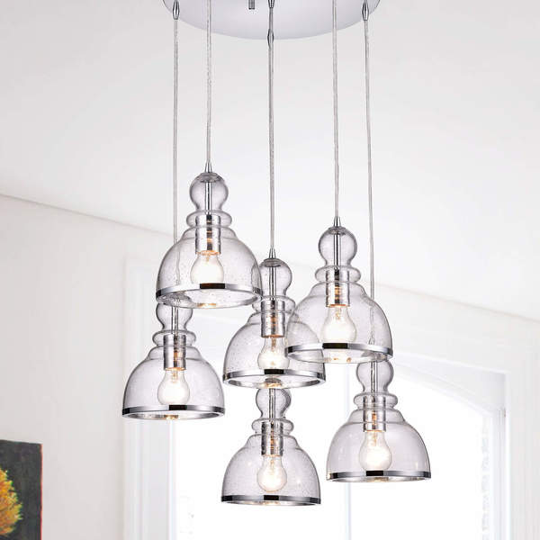 Alita Chrome Clear Bubble Glass 6-light Cluster Pendant