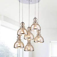 Alita Chrome Cognac Glass/Iron Bubble Cluster 6-light Pendant