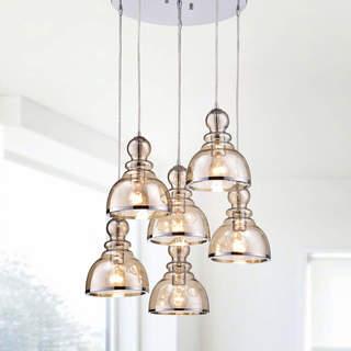 Alita Chrome Cognac Glass/Iron Bubble Cluster 6-light Pendant