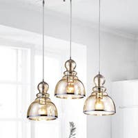 Alita Chrome Cognac Bubble Glass Cluster 3-light Pendant