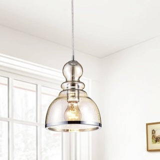 Alita Chrome Mini Pendant with Cognac Bubble Glass