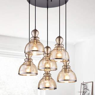 Alita Antique-black-finished Iron 60-watt 6-light Cluster Pendant Light With Cognac Bubble Glass Shades and Chrome Edges