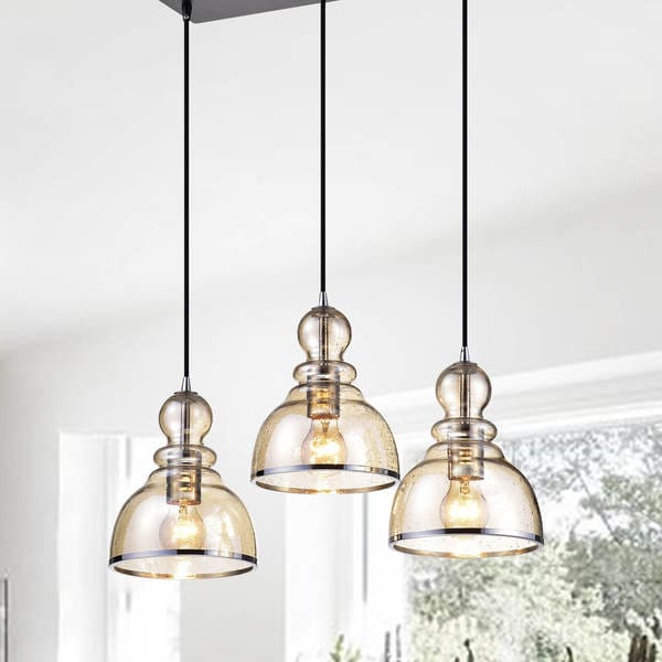 Alita Antique Black Cognac Bubble Glass and Chrome Edge 3-light Cluster Pendant