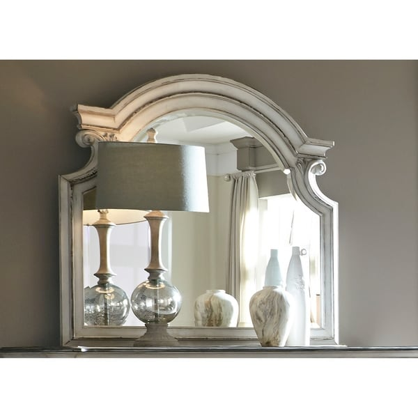 Magnolia Manor Antique White Scroll Mirror - White/Oak