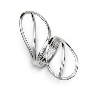 Sterling Silver Polished Abstract Nature Leaf Knuckle Ring - White
