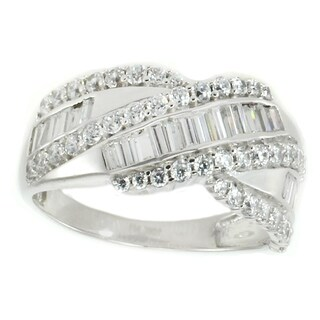 Michael Valitutti 10K White Gold Baguette & Round Cubic Zirconia Bypass Ring