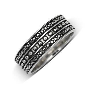 Sterling Silver Men's Beaded Oxidized Wedding band
