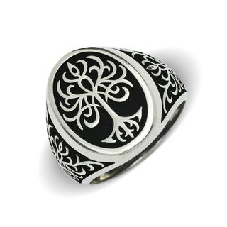 Sterling Silver Men's Black and White Tree of LIfe Oxidized Bold Ring