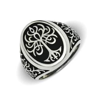 Sterling Silver Men's Black and White Tree of LIfe Oxidized Bold Ring|https://ak1.ostkcdn.com/images/products/17307632/P23555571.jpg?impolicy=medium
