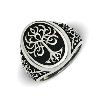 Sterling Silver Men's Black and White Tree of LIfe Oxidized Bold Ring (5 options available)