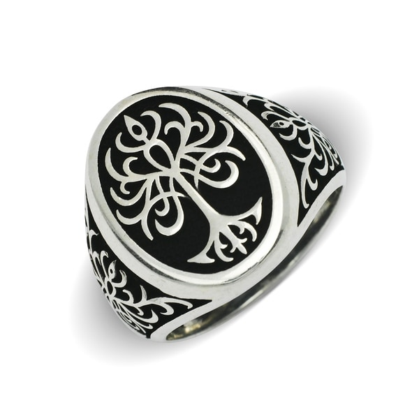 Shop Sterling Silver Men S Black And White Tree Of Life