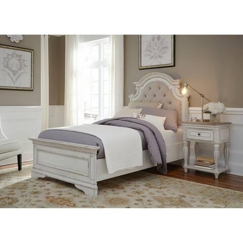 Magnolia Home Antique White Upholstered Bed - Distressed Bedroom Furniture Find Great Furniture Deals Shopping