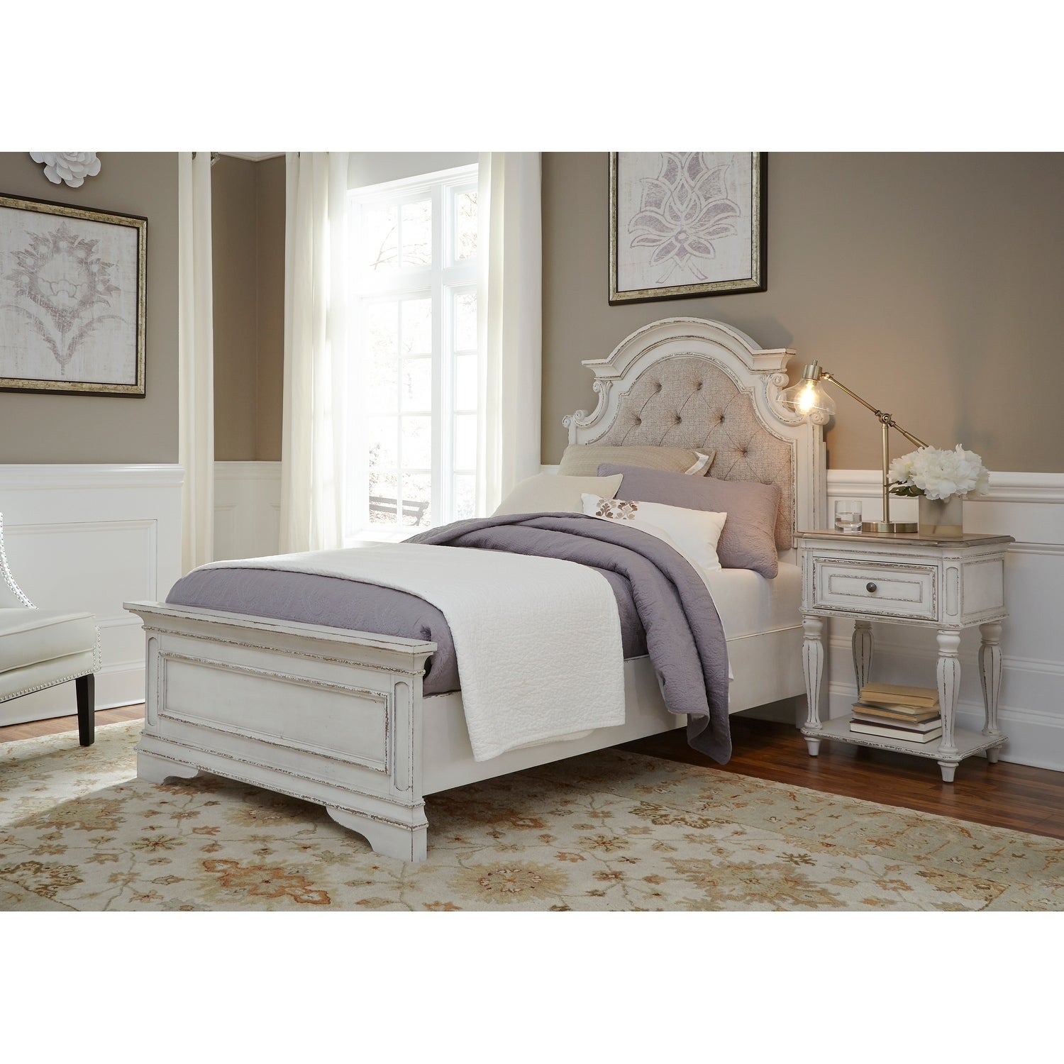 Magnolia Manor Antique White Upholstered Bed