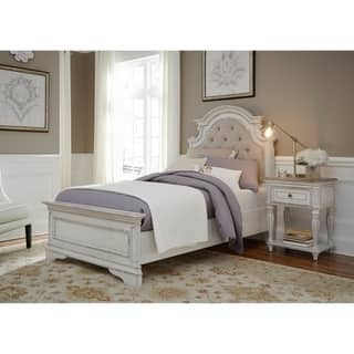 antique white bedroom furniture. Magnolia Home Antique White Upholstered Bed Distressed Bedroom Furniture For Less  Overstock com