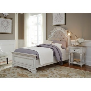 Magnolia Home Antique White Upholstered Bed