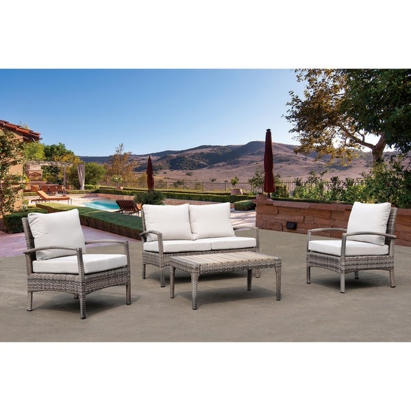 Courtyard Casual Taupe Chat 4 Piece Seating Group with Cushions