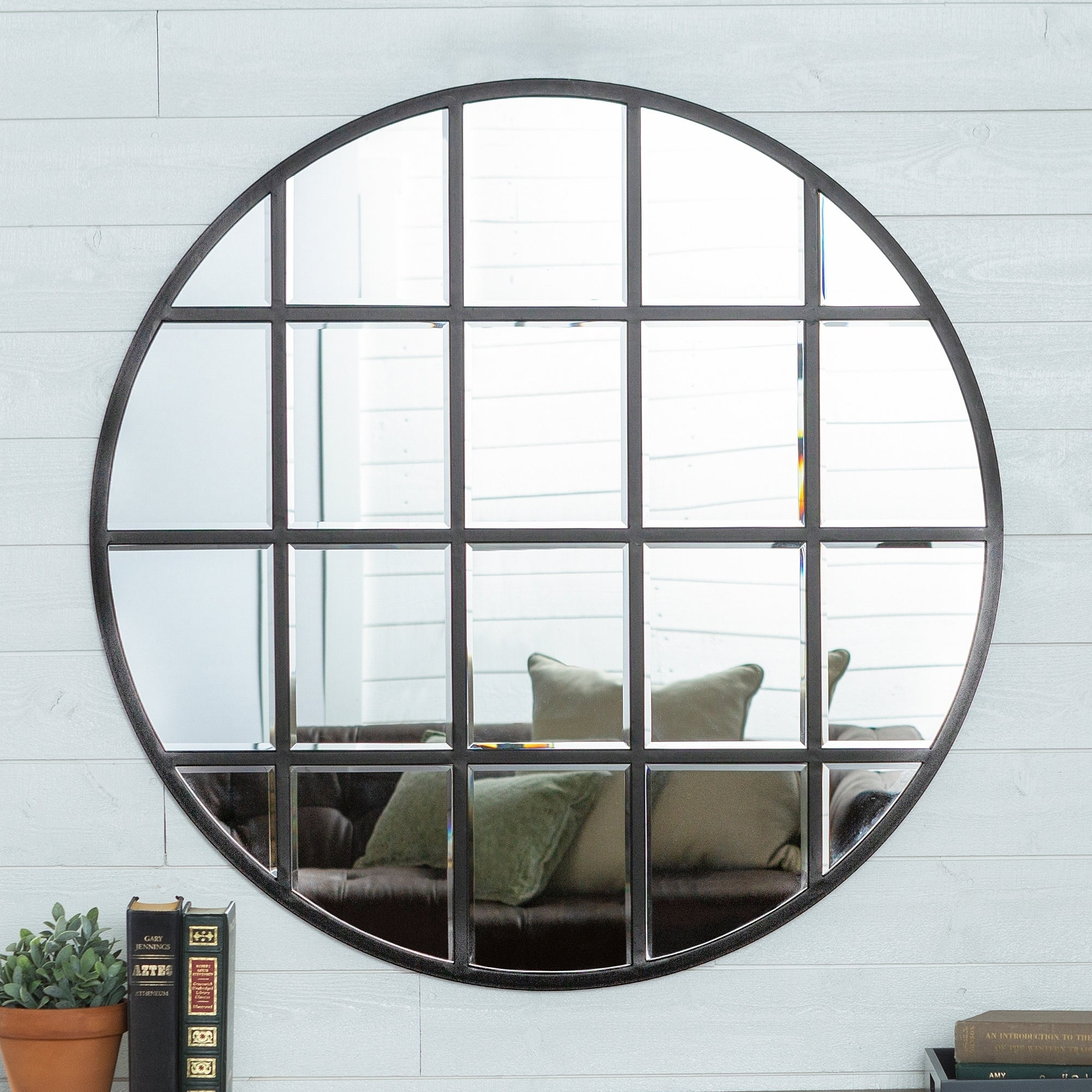 Shop Black Friday Deals On Middlebrook Designs 40 Inch Round Black Frame Windowpane Mirror Overstock 17307911