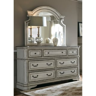 Magnolia Manor Antique White 7 Drawer Dresser And Scroll Mirror Set