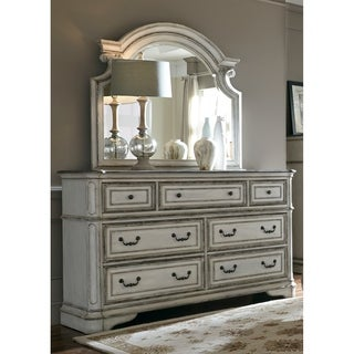 Magnolia Manor Antique White 7-Drawer Dresser and Scroll Mirror Set