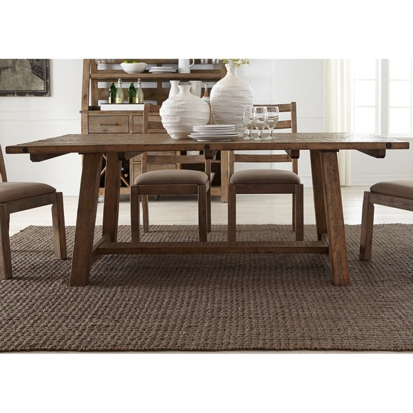 Prescott Valley Solid Pine Antique Honey 77 Inch Trestle Table   Brown