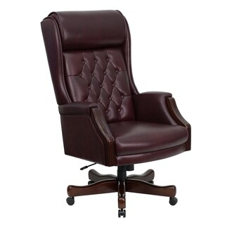 Presidential High Back Tufted Burgundy Leather Adjustable Swivel Office Chair With Leather Padded Mahogany Wood Arms and Base