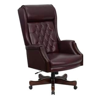 Presidential High Back Tufted Burgundy Leather Adjule Swivel Office Chair With Padded Mahogany Wood Arms