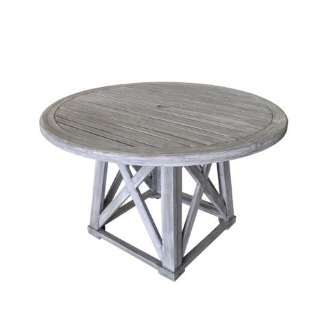 Courtyard Casual Gray Teak Round Surf Side Outdoor Dining Table