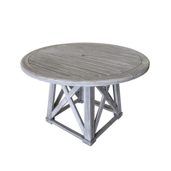 Grey Teak Coffee Table: Courtyard Casual Gray Teak Round Surf Side Outdoor Dining