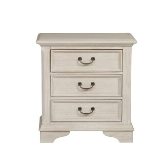 Bayside Antique White with Heavy Wire Brush 3-Drawer Nigtstand