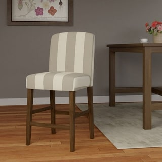 HomePop Curved Back 24-inch Counter Stool - Grey Stripe