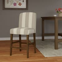 """HomePop Curved Back 24"""" Counter Stool - Grey Stripe"""