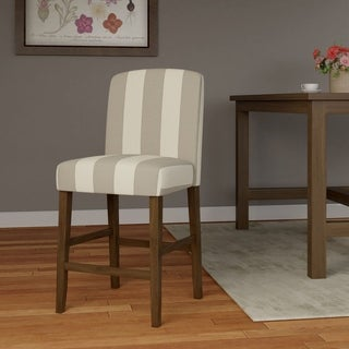 "HomePop Curved Back 24"" Counter Stool - Grey Stripe"