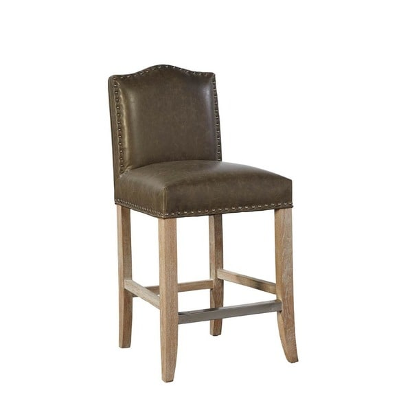 Shop Sutherland Leather Counter Stool With Nailhead Trim