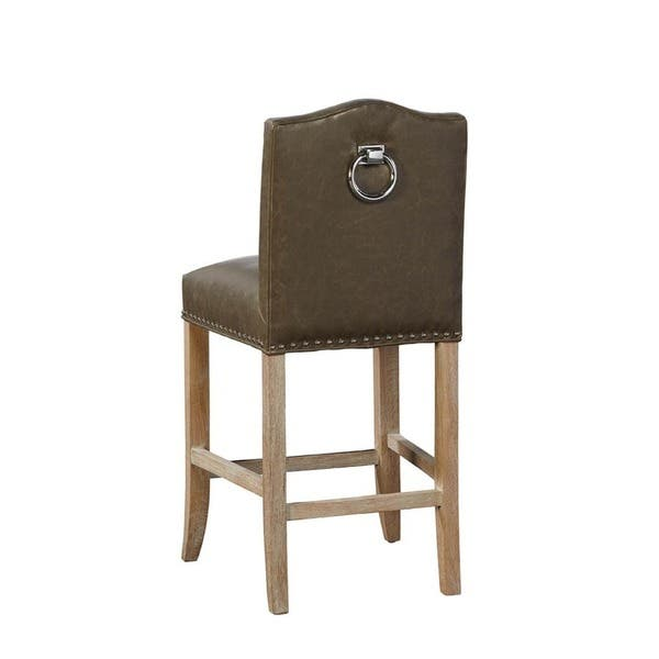 Pleasant Sutherland Leather Counter Stool With Nailhead Trim White Brown Dailytribune Chair Design For Home Dailytribuneorg