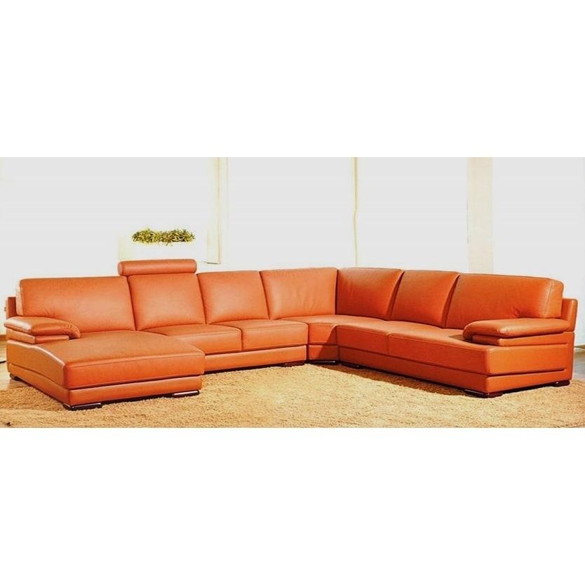 Hagerty Orange Leather U-shaped Sectional Sofa