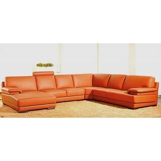 Hagerty Orange Leather U-shaped Sectional Sofa  sc 1 st  Overstock.com : u sectional sofas - Sectionals, Sofas & Couches