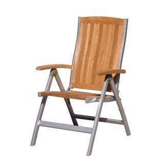 Courtyard Casual Natural Finish Burma Teak And Aluminum Outdoor Chair