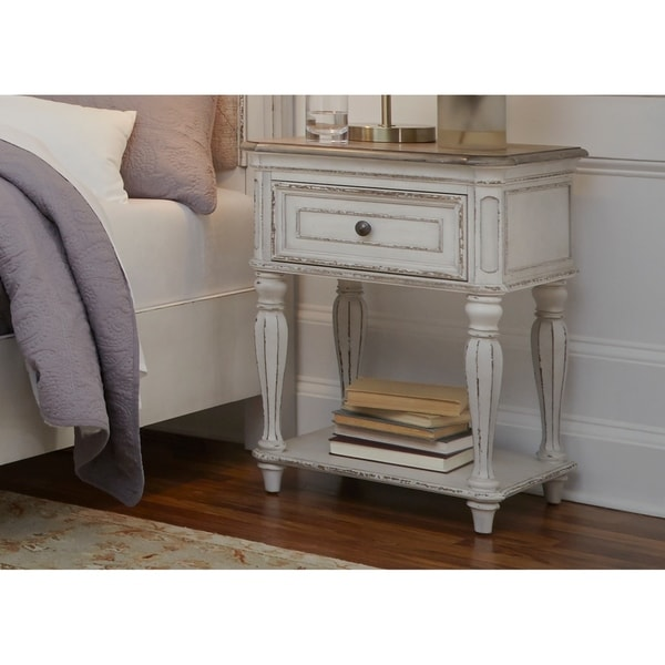 shop magnolia manor antique white leg nightstand on sale free shipping today. Black Bedroom Furniture Sets. Home Design Ideas