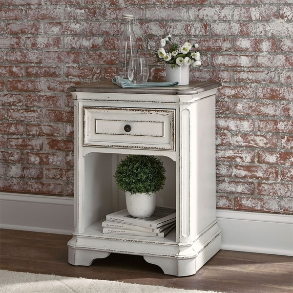 Shop Magnolia Manor Antique White 1 Drawer Nightstand On
