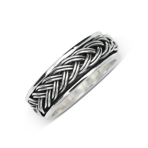Sterling Silver Men's Black and White Braided Oxidized Wedding band