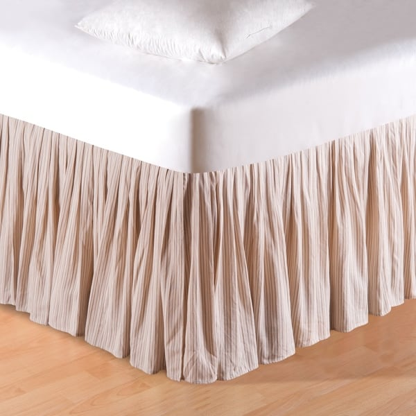 Beige Stripes 14 Inch Drop Bed Skirt