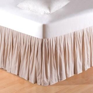 Beige Stripes Queen Bed Skirt