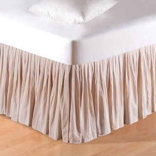 Beige Stripes 14-inch Drop Bed Skirt